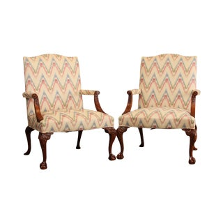 Hickory Chair Chippendale Mahogany Ball & Claw Pair Gainsborough Armchairs For Sale