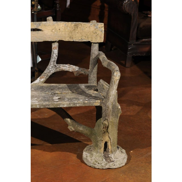 French Late 19th Century Faux-Bois Concrete Bench with Vases Flanking the Sides For Sale - Image 12 of 13