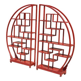 Vintage Half-Circle Red Lacquered Wood Etagere - a Pair For Sale