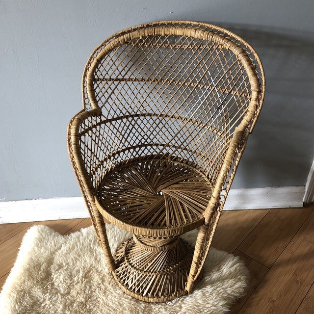 Tan 1970s Vintage Children's Peacock Chair For Sale - Image 8 of 10