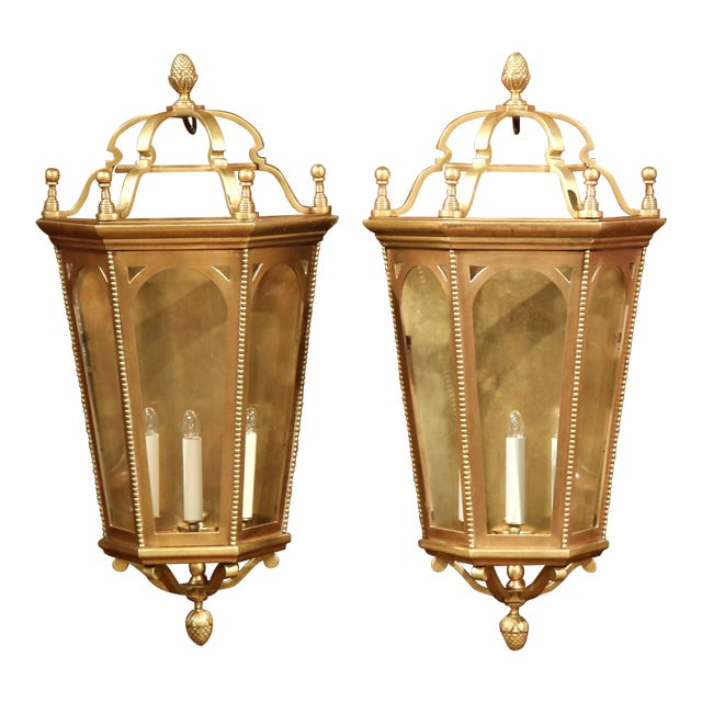 Early 20th Century French Bronze Wall Outside Sconces with Glass - A Pair For Sale