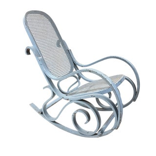 1960s Vintage Light Blue Bentwood Thonet-Style Rocker For Sale