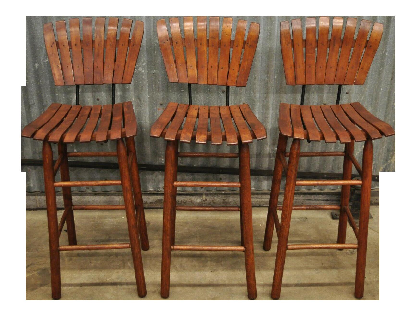 3 Vintage Mid Century Modern Arthur Umanoff Wood Slatted Wooden Bar Stools Chairish