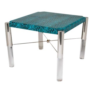 Turquoise Snakeskin Game Table in the Style of Karl Springer