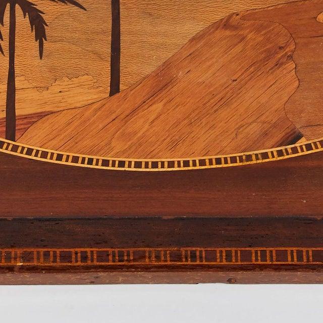 Mid-century modern Island themed Inlaid mahogany serving tray.