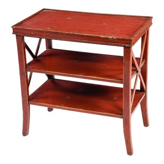 Reproduction Red Lacquer 3 Tiered End Table For Sale
