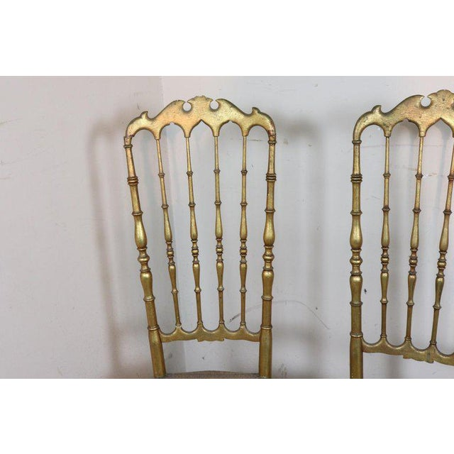 Very rare series of four chairs model Parigina production of Chiavari Italy cabinetmakers laboratories. All the golden...