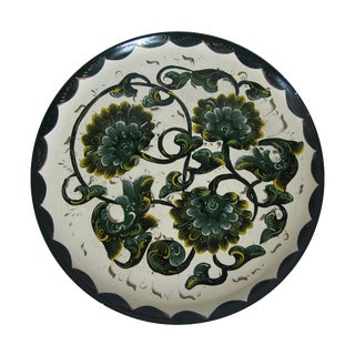 Round Painted Flower Tray