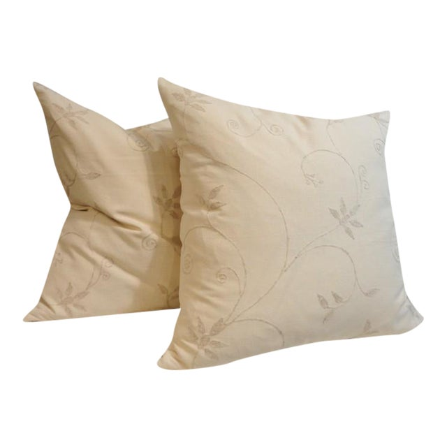 Pair of Amazing Cream Crewel Fabric Pillows with Linen Backing For Sale