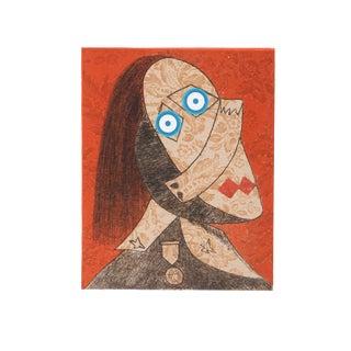 """Enrico Baj, """"Chez Picasso 5"""", Colorful Cubist Portrait For Sale"""