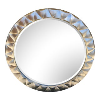 1980s Vintage Bernhardt Faceted Silverstone Mirror For Sale