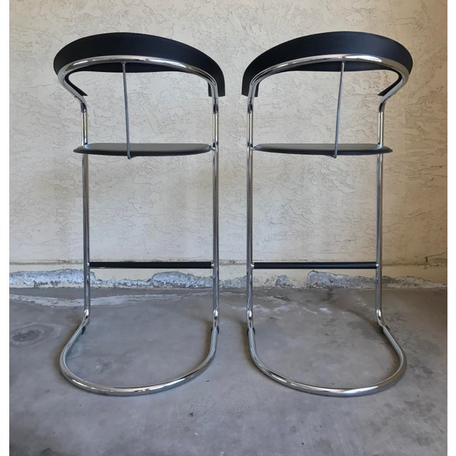 Modern Bar Stools In The Style of Anton Lorenz for Thonet- A Pair - Image 7 of 11