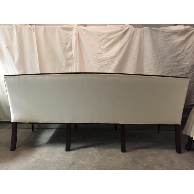 Sheraton-Style Mahogany & Beige Upholstered Sofa For Sale In Seattle - Image 6 of 6