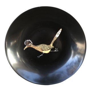 Vintage Couroc of Monterey California Wood Inlaid Roadrunner Bowl For Sale
