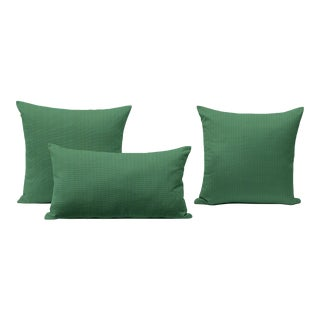 Mint Green Outdoor Throw Pillows - Set of 3 For Sale