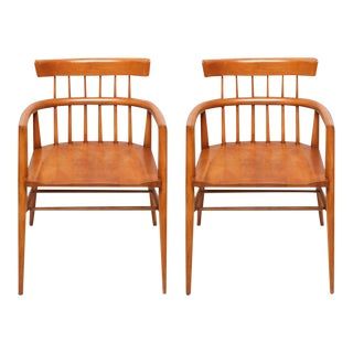 1960s Paul McCobb Armed Wood Dining Chairs - a Pair For Sale