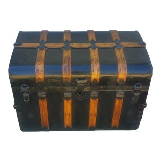 19th Century Boho Chic Steamer Trunk Flat Top With Bent Oak Wood Details For Sale