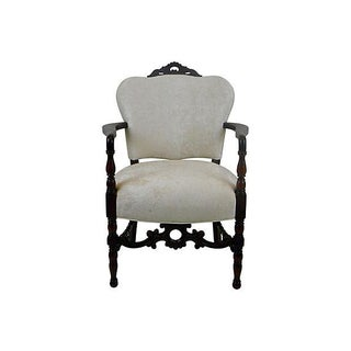 Chic Vintage Mahogany Upholstered Off White Velvet Arm Chair or Side Chair For Sale