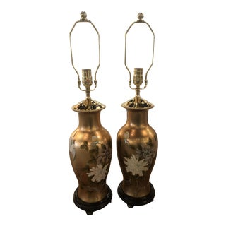 Vintage Chinoiserie Gold Leaf Brass Floral Birds Table Lamps - A Pair For Sale