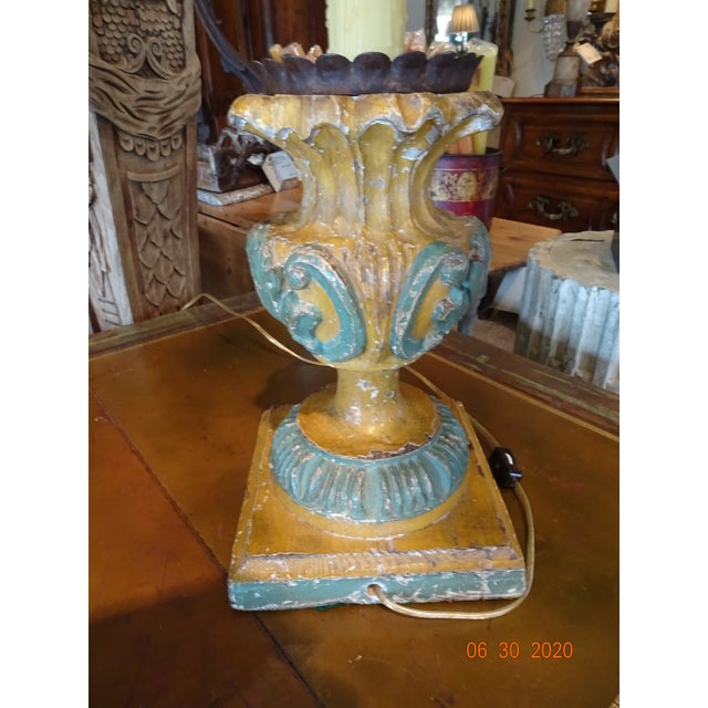 Burnt Orange 19th Century Italian Hand Carved Acanthus Motif Lamps - a Pair For Sale - Image 8 of 10