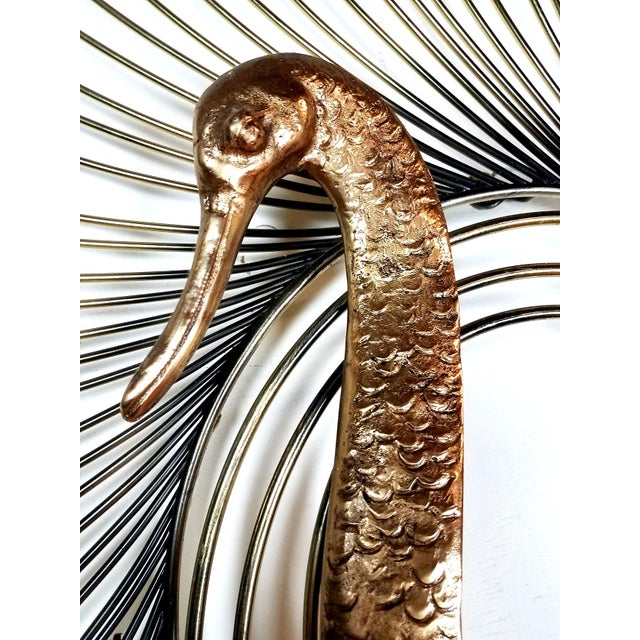 C. Jere Brass Peacock Wall Sculpture For Sale - Image 5 of 7