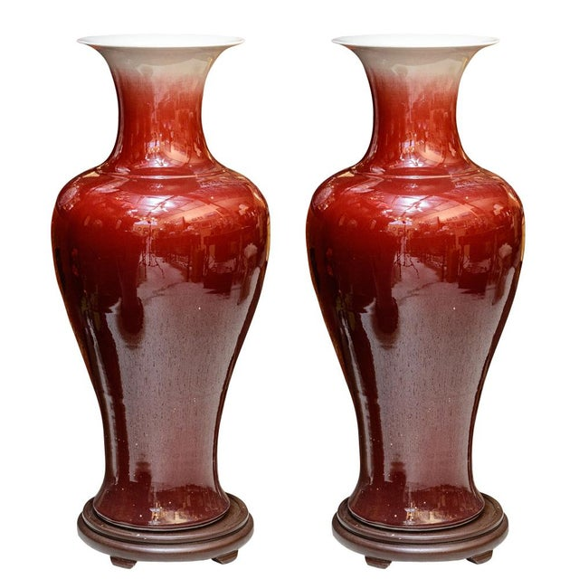 Ceramic Large Oxblood Floor Vases - a Pair For Sale - Image 7 of 7