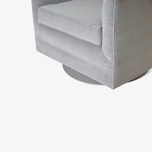 Swivel Tub Chairs in Dove Velvet, Pair For Sale In New York - Image 6 of 8