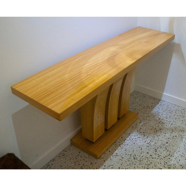 Karl Springer Vintage Karl Springer Style Console Table Satinwood - 2 Are Available For Sale - Image 4 of 7