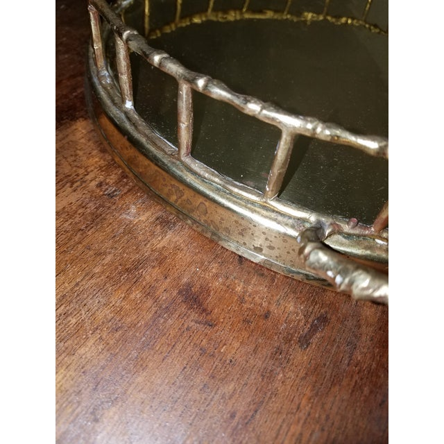 Hollywood Regency Hollywood Regency Round Brass Tray With Brass Bamboo Gallery For Sale - Image 3 of 4