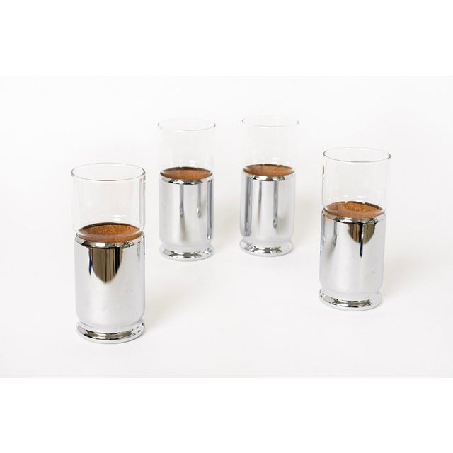 Mid Century Highball Cocktail Glasses With Silver Cork Liners For Sale - Image 9 of 11