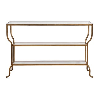 Antiqued Gold Finish Console Table For Sale