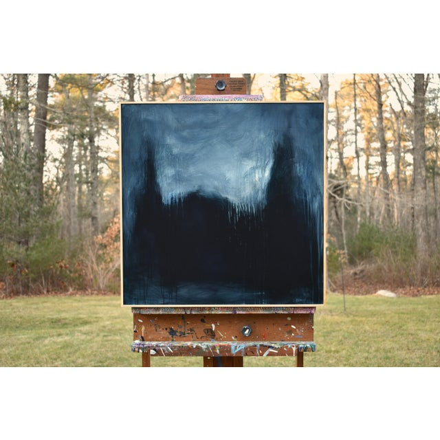 """Titled """"The Abbey in Moonlight"""". An abstract form taking shape in dramatic lighting. This measures 24"""" high by 24"""" wide on..."""