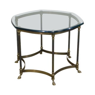 Vintage Italian Brass & Glass Hoof Foot Coffee Table For Sale