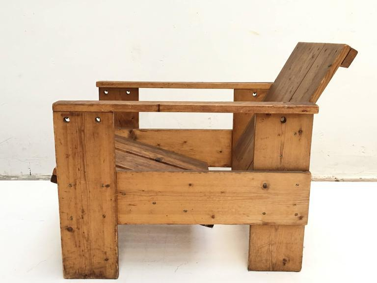 1950s Gerrit Rietveld Crate Chair By Unknown Manufacturer   Image 3 Of 10
