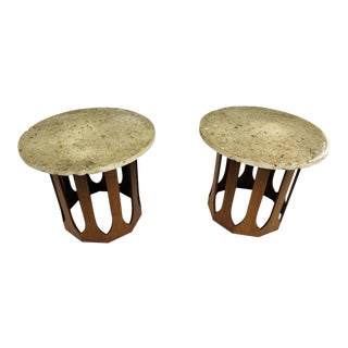 Mid-Century Modern Harvey Probber Fossil Shell Stone Top End Tables - A Pair For Sale