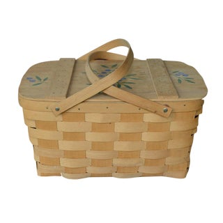 Blueberry Wooden Picnic Basket For Sale
