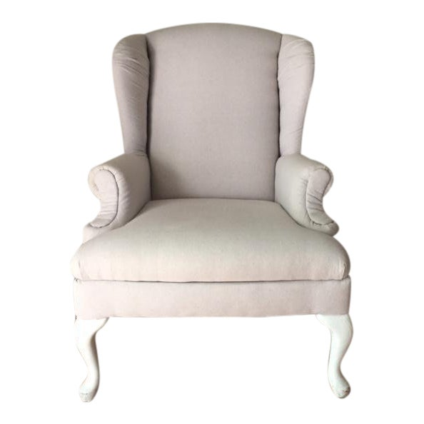 Vintage Neutral Linen Wingback Chair - Image 1 of 11