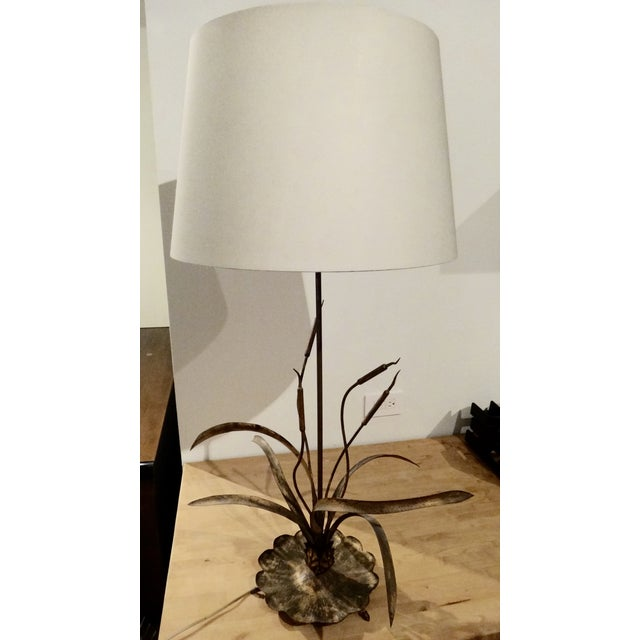 Mediterranean Gilt Cattail Reed Sculptural Table Lamp For Sale - Image 3 of 6