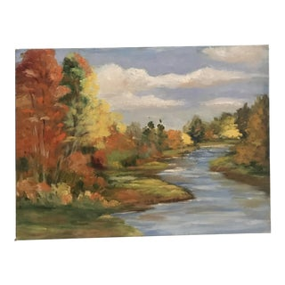 Vintage Original Impressionist Painting of a Riverscape in Autumn