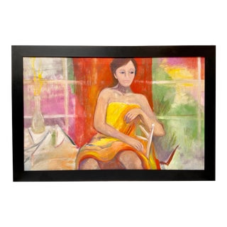 Vintage 1960s Seated Woman Interior Original Oil Painting For Sale