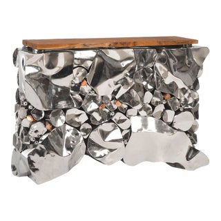 Phillips Collection Stainless Steel Console Table, Copper Accent For Sale