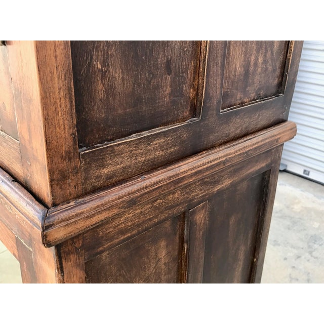 Antiqued Reclaimed Library Wood Vitrine For Sale - Image 5 of 11