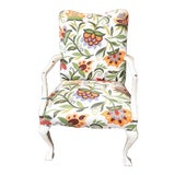 Image of Early American Floral Fabric Armchair For Sale