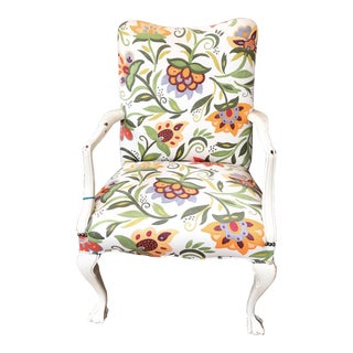 Early American Floral Fabric Armchair For Sale