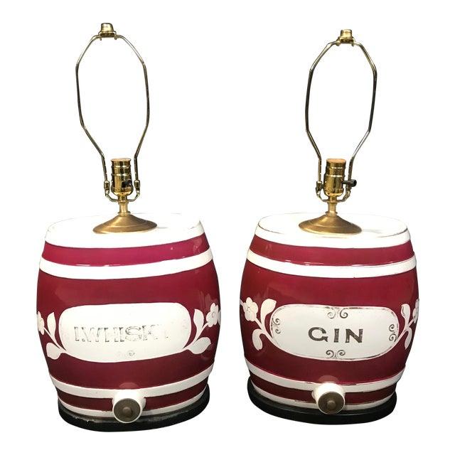 1920s Festive British Ceramic Spirit Barrel Lamps - a Pair For Sale