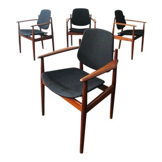 1950s Danish Modern Arne Vodder for France & Sons Teak Armchairs - Set of 4 For Sale
