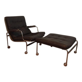 Dux Karin Distressed Leather Chair & Ottoman