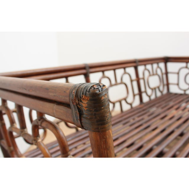 Canvas Chinese Chippendale Bamboo and Leather Sofa For Sale - Image 7 of 10