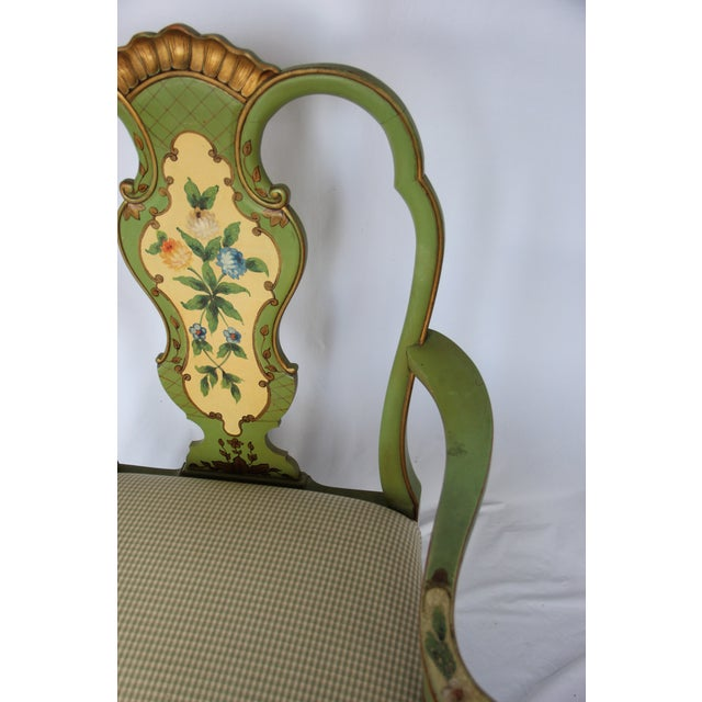 Wood 1920s Vintage Italian Venetian Hand Painted Fauteuil Arm Chair For Sale - Image 7 of 11