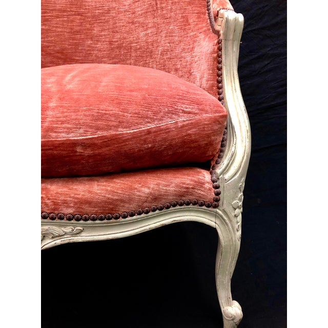 Coral Antique French Louis XV Style Rose Velour Bergere Armchair with Nailhead Trim For Sale - Image 7 of 13